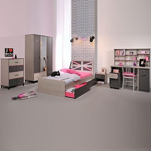 Jugendschlafzimmer Einrichtung Belliona Teilig GrauEsche - Jugend schlafzimmer