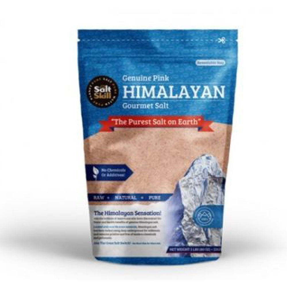 Salt Skill Pink Gourmet Himalayan Salt - 5lbs Fine Grain Incredible Taste. Rich in Nutrients and Minerals To Improve Your Health.