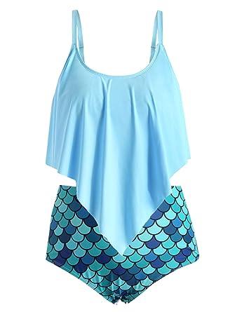 c5a7b7acd Rosegal Women Plus Size Ruffled Mermaid Tankini Swimwear at Amazon ...