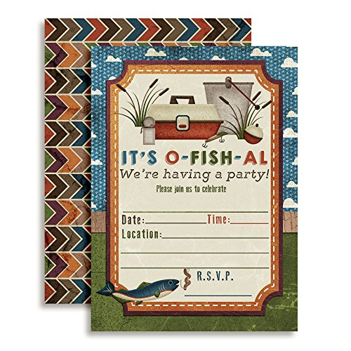 Fishing Themed Birthday Party Celebration Invitations for Boys, 20 5