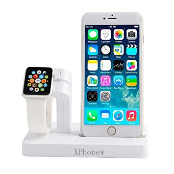 187d5e96a72 Base para cargador de iPhone, XPhonew 2 en 1 Apple Watch Soporte iPhone  Cargador Soporte