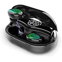 Calionltd Bluetooth 5.0 in-Ear Earbuds with LCD Battery and Time Display