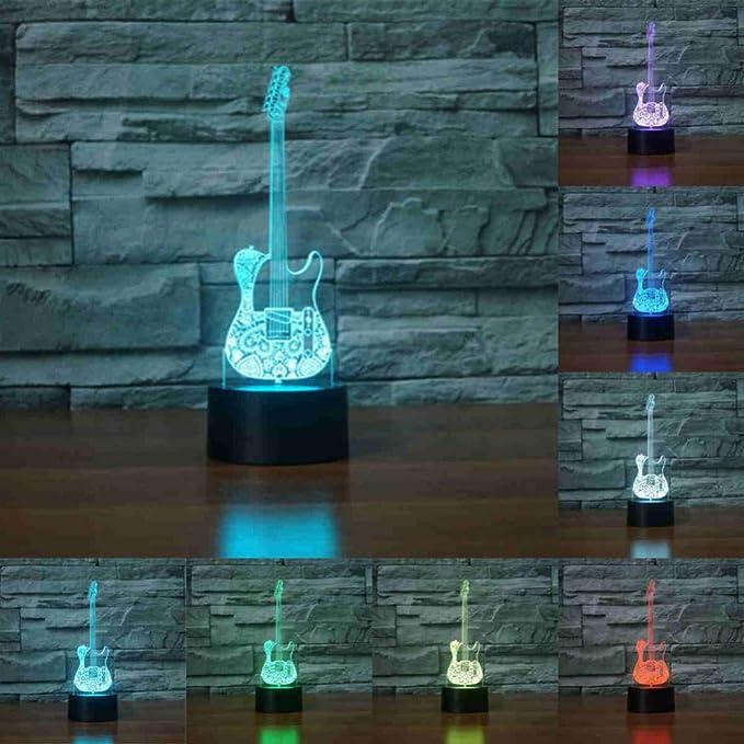 NSYW Guitarra Eléctrica Saxofón Piano 3D Lámpara Led Luz Nocturna Luz 3D Acrílico Lamparas Atmósfera Lámpara De Mesa Novedad Iluminación Interior: ...