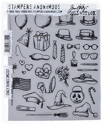 Stampers Anonymous Tim Holtz Cling Rubber Stamp Set, 7'' by 8.5'', Crazy Things by Stampers Anonymous
