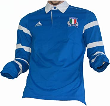 adidas Italia F.I.R. Camiseta de rugby., azul, small: Amazon