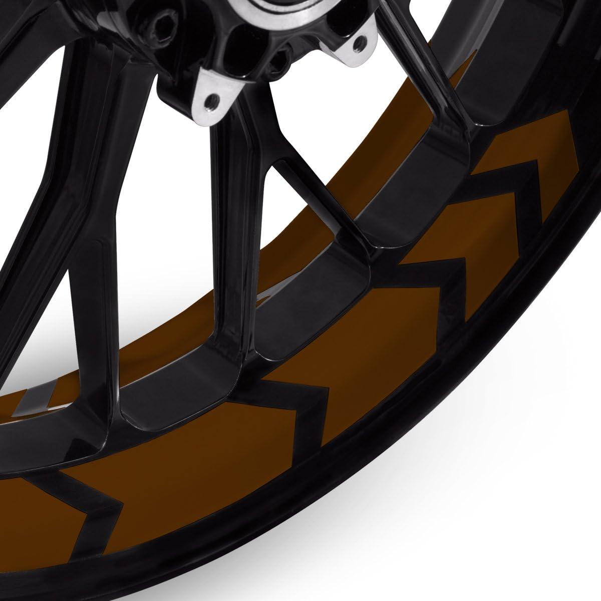 Komplettset f/ür 16 bis 19 Motoking Felgenbettaufkleber im Racing Arrow Design Farbe /& Breite w/ählbar