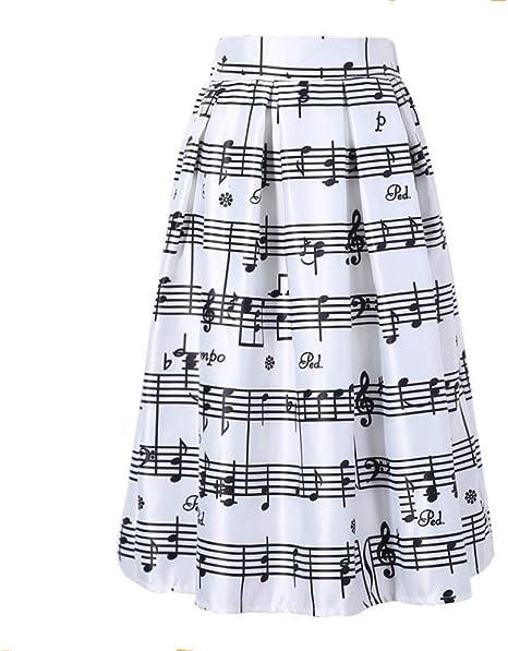 FSDFASS Faldas Moda para Mujer Nota de música para el Piano ...