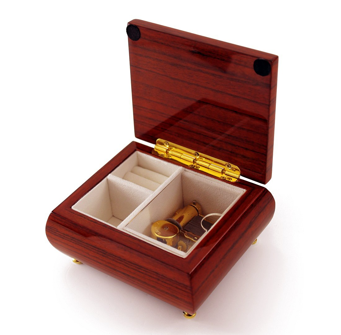 Alluring Hi Gloss Rosewood Simple Design Music Jewelry Box - Over 400 Song Choices - Talk to the Animals by MusicBoxAttic