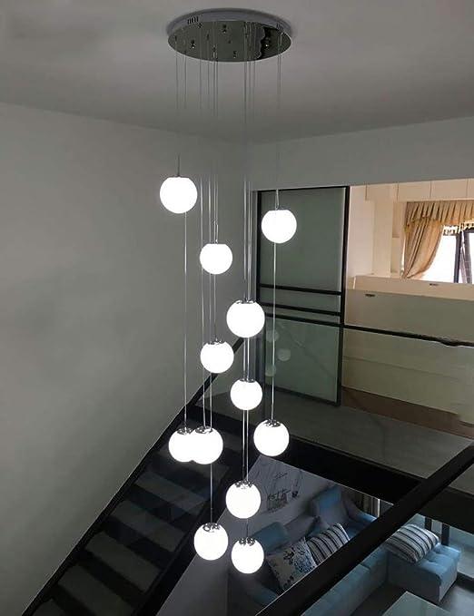 WAZY Luces colgantes modernas de 12 bolas de cristal de la escalera de la escalera para la lámpara dúplex de la escalera de la lámpara de Villa Led larga, 50x50x250cm (color :