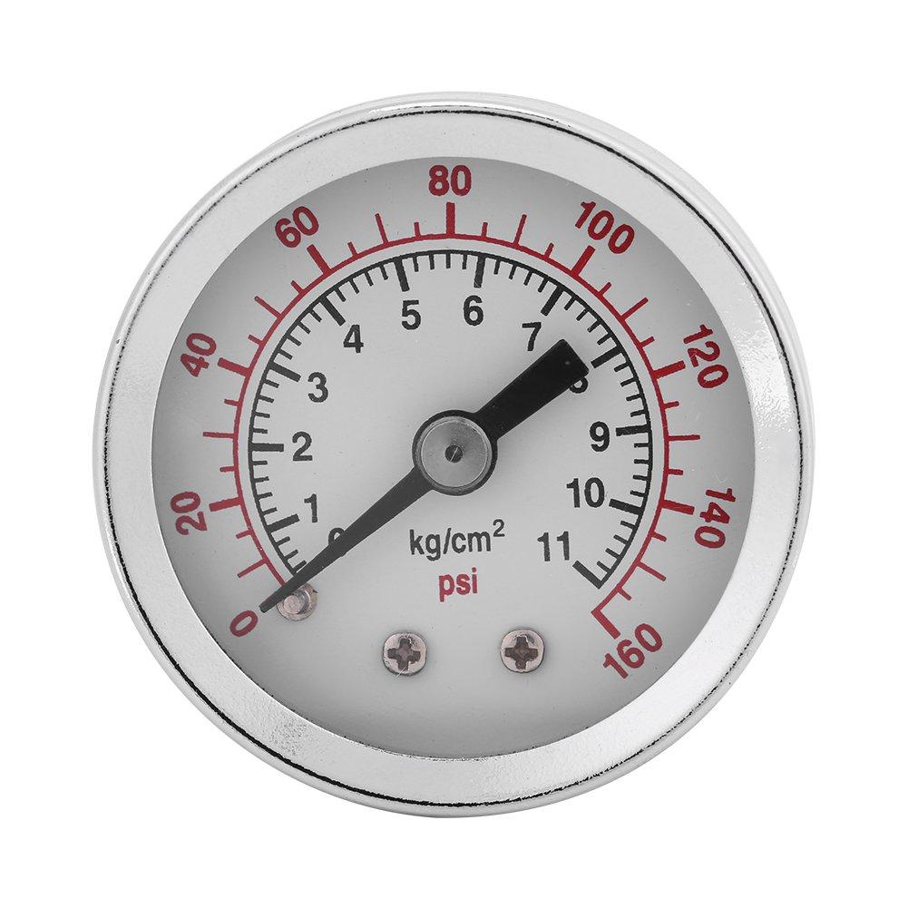 Esenlong 0-160PSI 1//8NPT Pressure Gauge Manometer Water Oil Air Pressure Meter Black+Silver