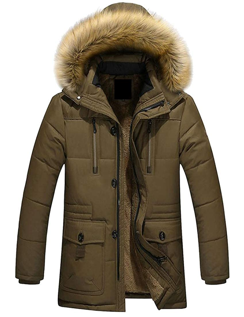 Joe Wenko Mens Faux Fur Hooded Stylish Outerwear Fall Winter Fleece Parkas Down Coat