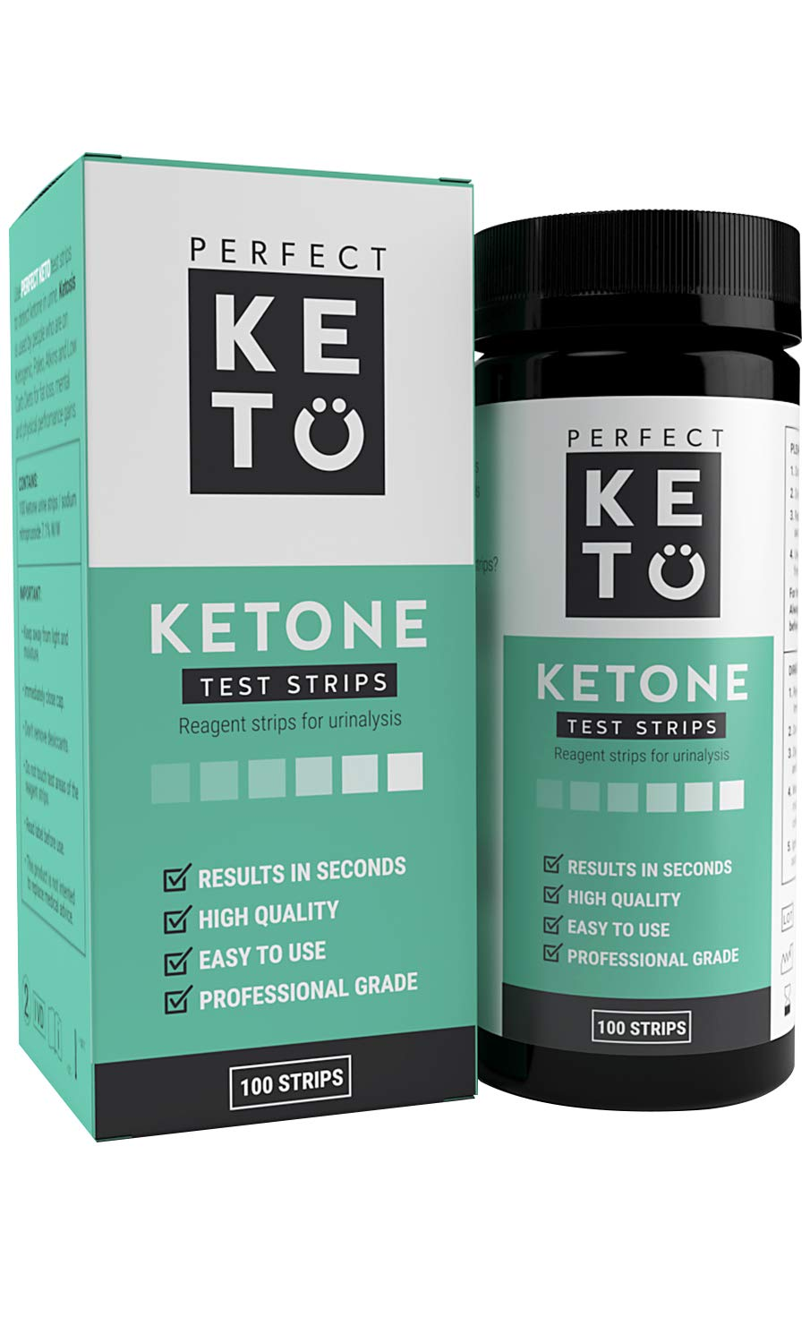 Perfect Keto Ketone Testing Strips: Test Ketosis Levels on Low Carb Ketogenic Diet, 100