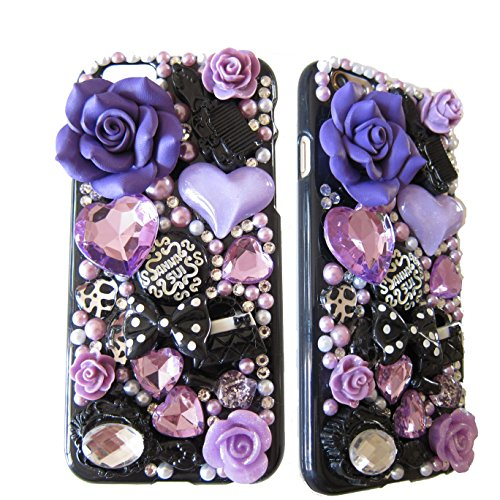 LU2000 3D Purple Ceramics Rose Flower Mix Pink Crystals Diamond Sparkle Bedazzled Jeweled [Anna Series] Bling Case for Iphone 6 Plus (5.5 inch) AT&T Verizon & Sprint