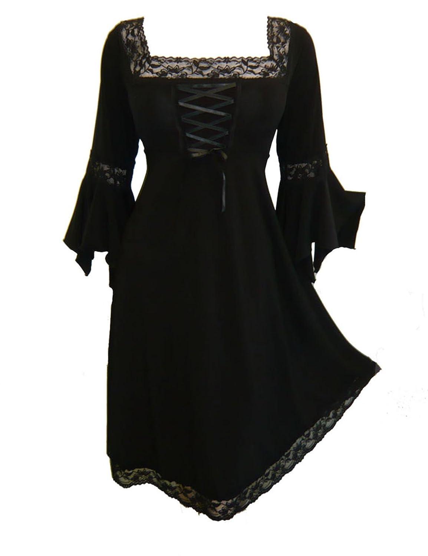 Dare to Wear ルネサンス期のコルセットドレス ビクトリア風 ゴシック調 ボーホー 魔女のようなレディースのガウン 日常着 ハロウィン衣装 お祭り用 B00EZR2IRM L|ブラック ブラック L