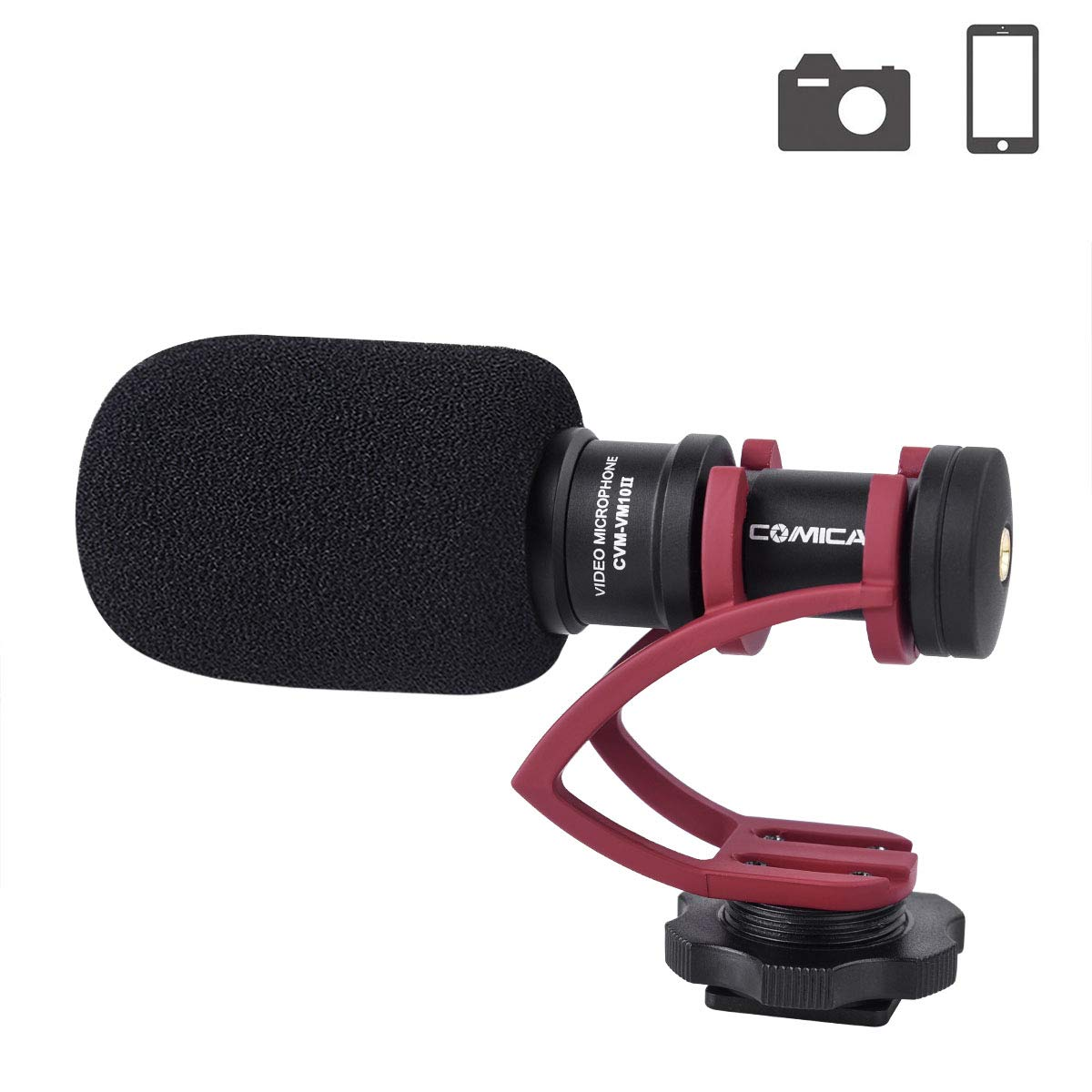 Comica CVM-VS08 Microphone for Smartphone,Cardioid Condenser Directional Shotgun Video iPhone Microphone for Phone,iPad,LG//Huawei Android Smartphone with Wind Muff 3.5mm Jack