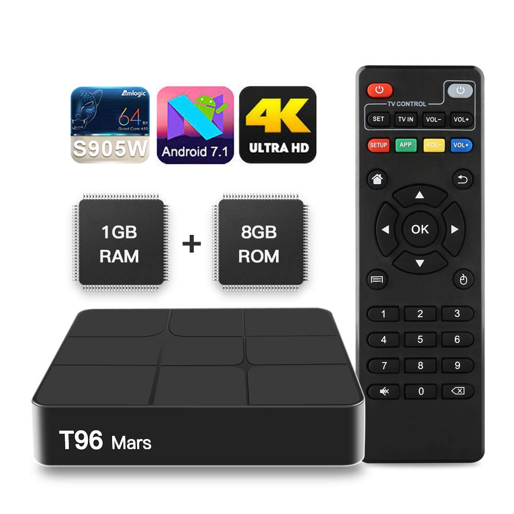 SUNNZO T96 Mars Lecteur multimé dia/ TV Box de Diffusion en continu Android 7.1/boî te TV 4K avec Amlogic S905W Quad-Core chipset, 64 Bits 1GB/8GB,WiFi,4K HD,H.265 (1+8GB) Shenzhenshi Xinchangtu Technology Co. Ltd