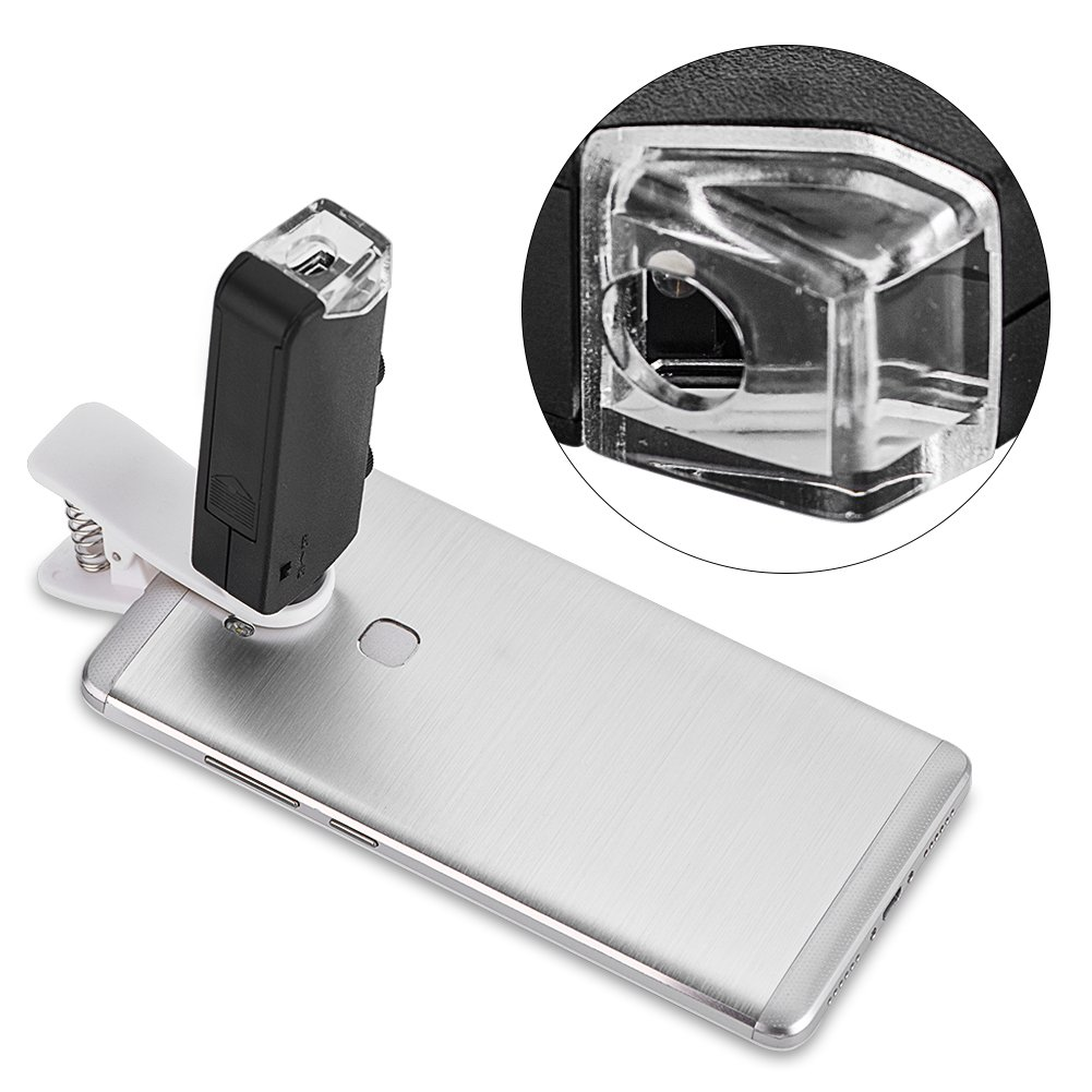 fosa 60x-100x Optical Zoom LED Clip-On Microscope Magnifier Micro Lens for Universal Mobile Phones/such as iphone Samsung HTC Blackberry Nokia Sony