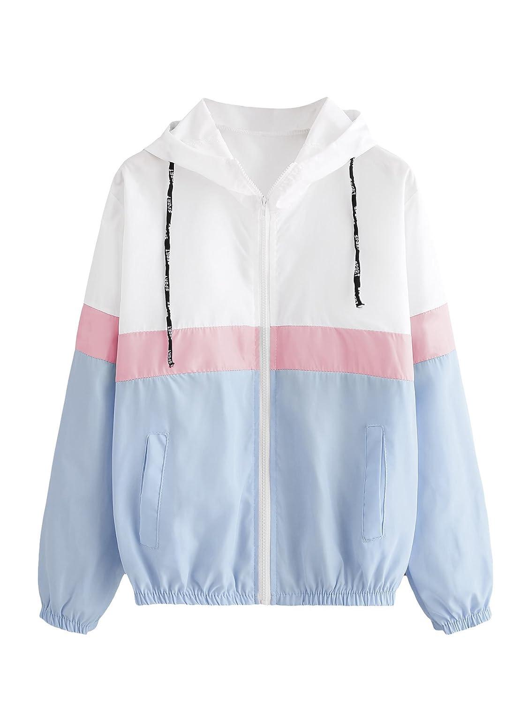 bluee Verdusa Women's Hooded color Block Drawstring Sports Windbreaker Jacket