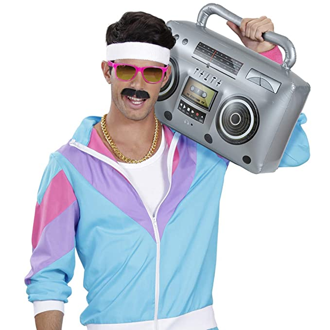 Amakando Radio Retro años 80 Inflable / 50 cm en Plateado ...