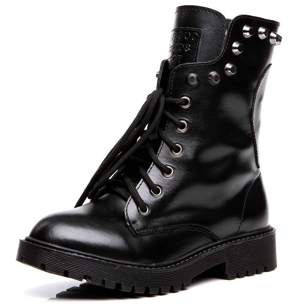 194988d14877 Shenn Women s Round Toe Knee High Punk Military Combat Boots - Casual  Women s Shoes