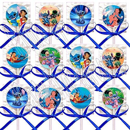 Lilo & Stitch Party Favors Supplies Decorations Movie Lollipops w/ Blue Ribbon Bows Party Favors -12 pcs