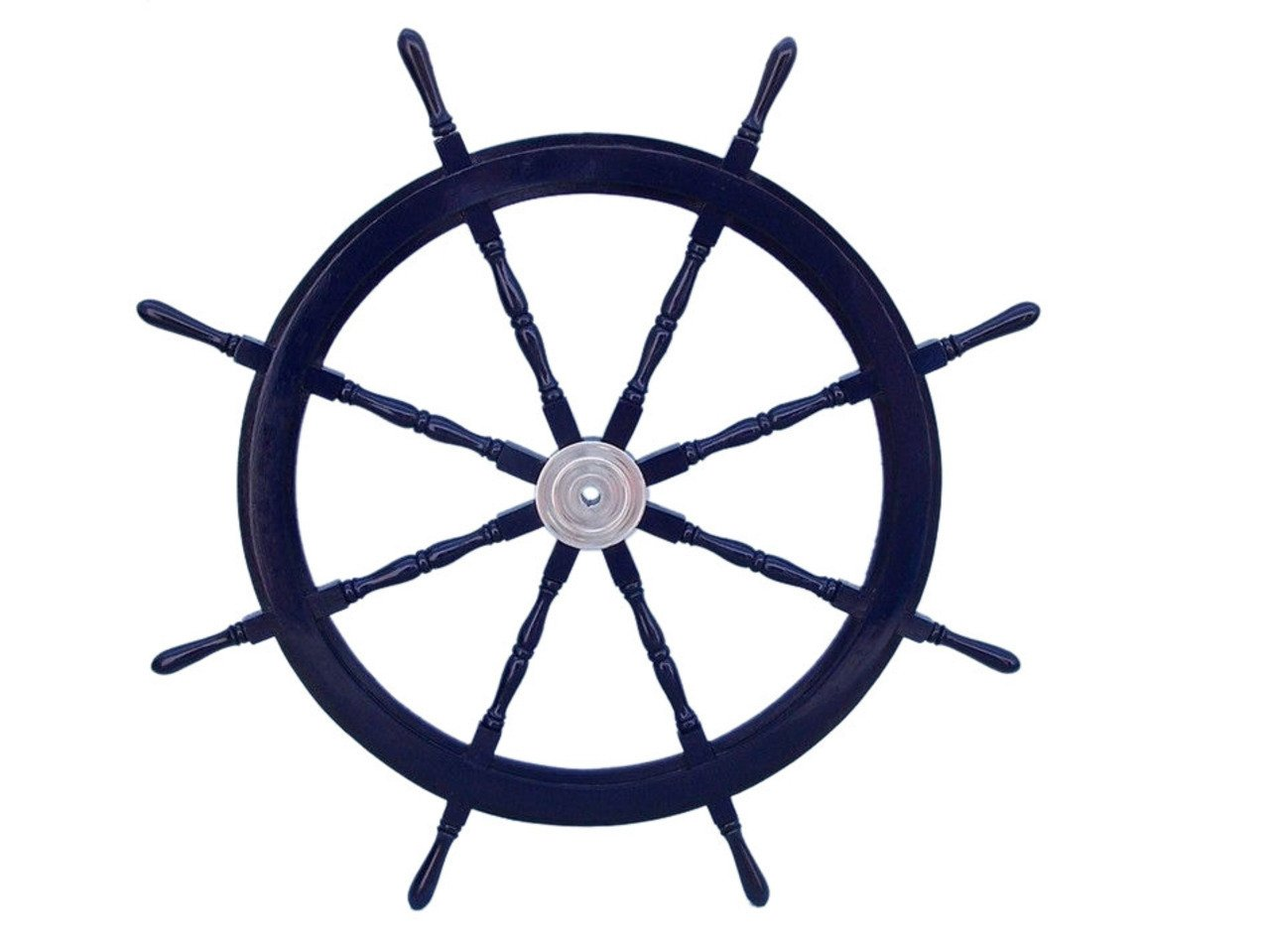 [ハンプトンノーティカル]Hampton Nautical Deluxe Class Dark Blue Wood and Chrome Decorative Ship Steering Wheel 48 ation [並行輸入品] 48 inch dark blue B00OK7LKKI