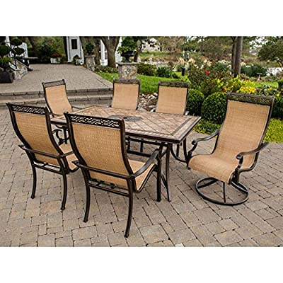 Hanover Monaco Aluminum Dining Set - Seats 6 - Alumnicast aluminum alloy frames for longevity Sealed natural stone tabletop with hand-laid tiles PVC-treated fabric sling seating in cedar - patio-furniture, dining-sets-patio-funiture, patio - 61VO7dJi0lL. SS400  -