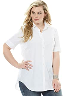 681e7545a6e Roamans Women s Plus Size Gingham Shirt with Sleeve Ties at Amazon ...