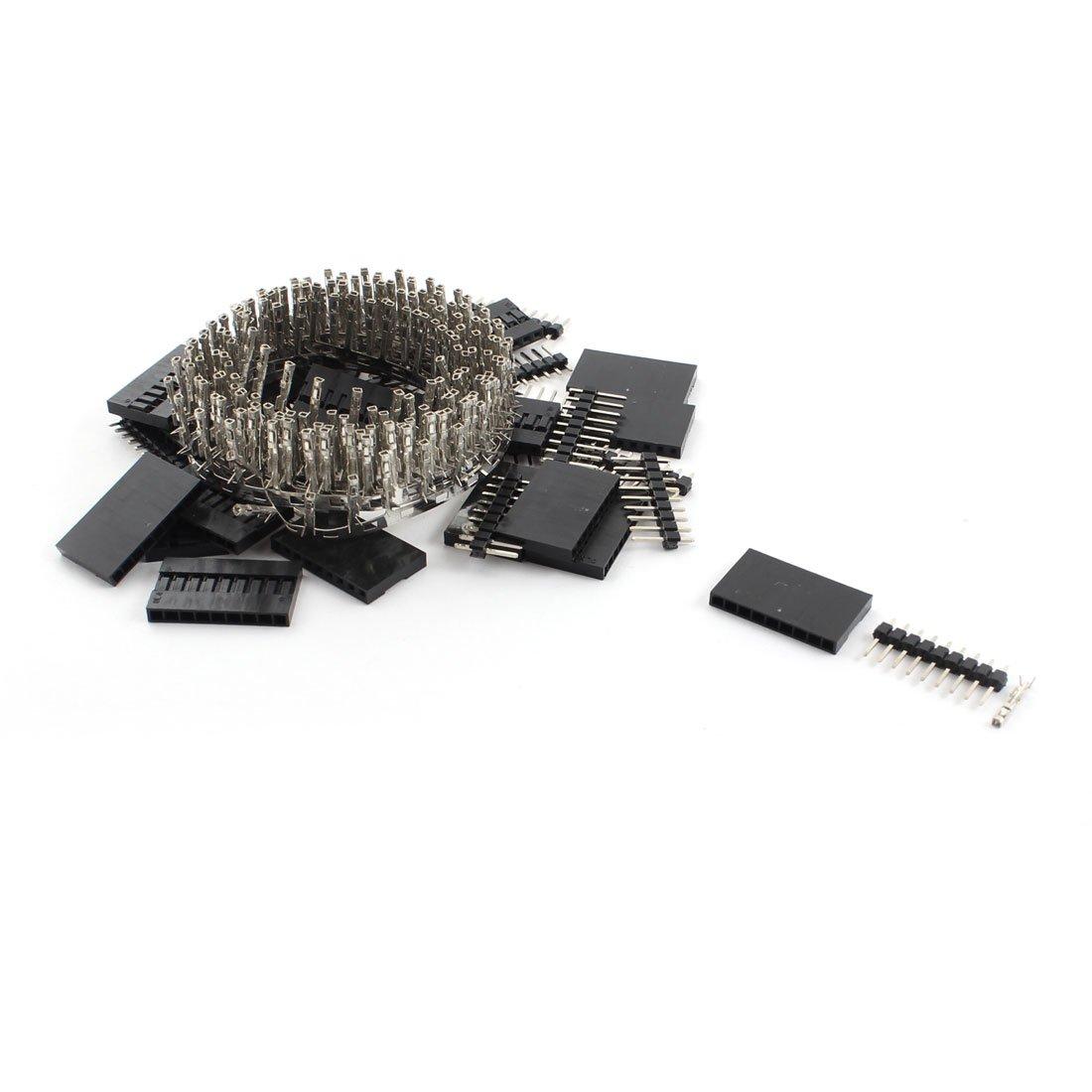 sourcingmap® 20 conjuntos cable puente de 2,54 mm de paso 9P Negro Caja w conector pin hembra macho