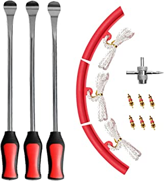 3 Rim Protector 6 Valve Cores Lawn Mower Professional Tire Changing Tool for Motorcycle 3 pcs Tire Spoons NEIKO 20601A 14.5 inch Steel Tire Spoon Lever Iron Tool Kit Valve Tool Dirt Bike