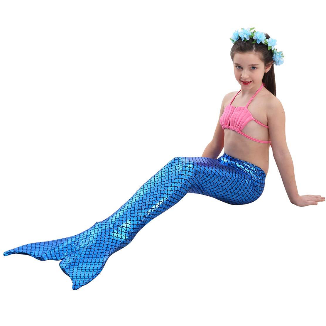Wetry 3 Pezzi Ragazza Sirena Coda Costume da Bagno Mermaid Shell Set Bikini per Bambina