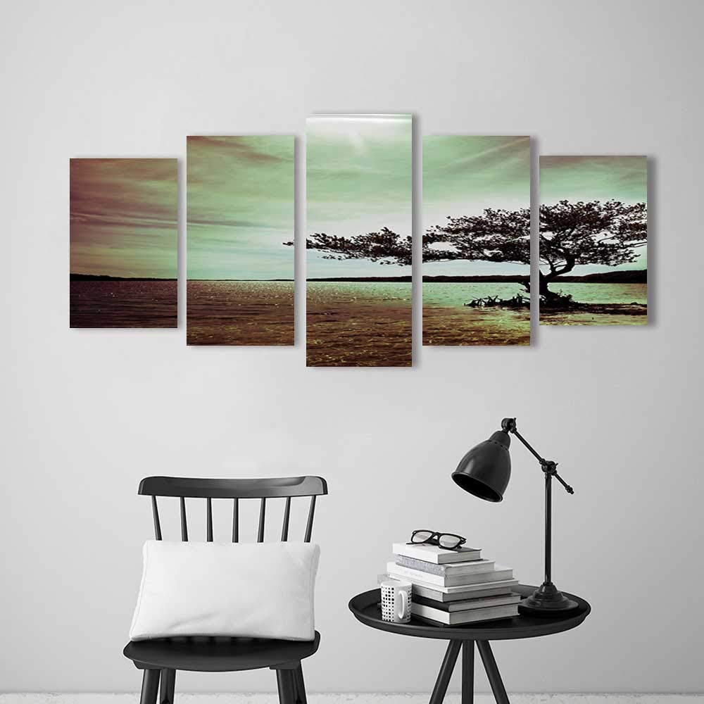 5 Pieces Art The Picture for Home Decoration Frameless Scene Accessories College List One of a Kind Machine Washable Silky Satin in Art for Home Decorations Wall Decor