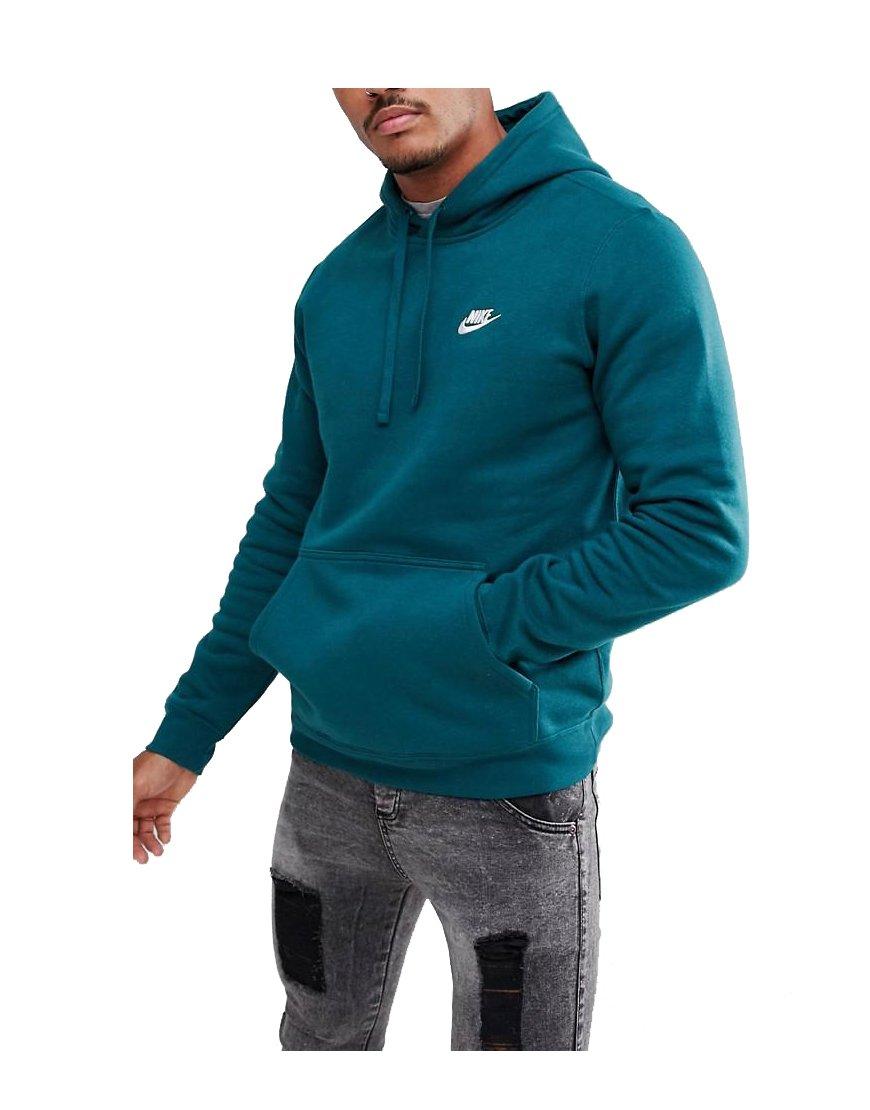 NIKE Mens Sportswear Pull Over Club Hooded Sweatshirt Dark Atomic Teal/White 804346-375 Size 2X-Large