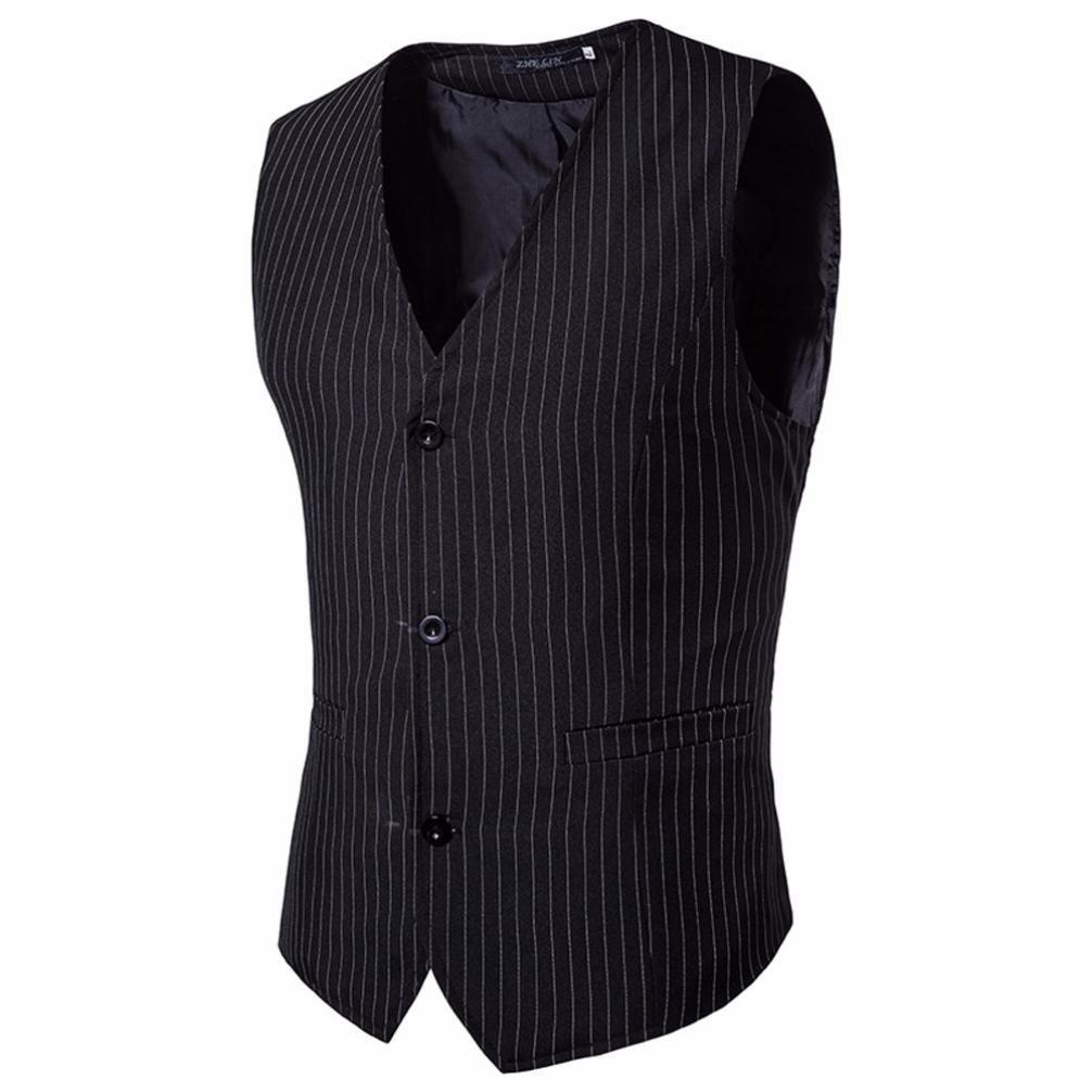RTYou New Vintage Striped Business Men's Single Breasted Vest V-Neck Waistcoat Vest (M, Black)