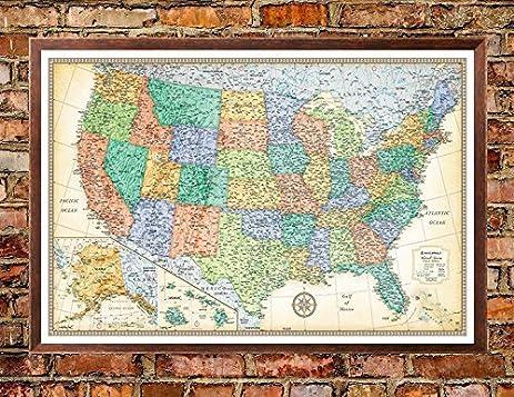 Amazoncom X Rand McNally United States USA Classic PushPin - United states travel map