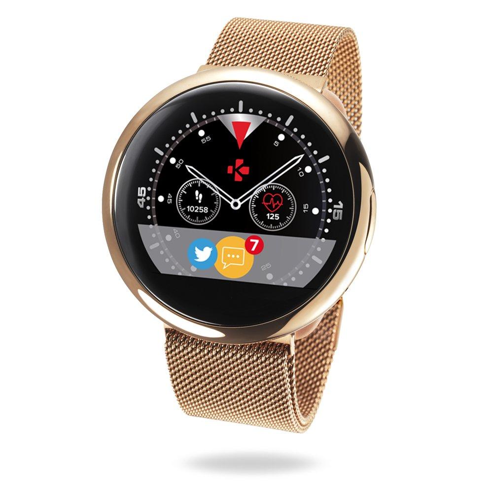 MyKronoz ZeRound2HR Elite - Smartwatch con Monitor de Ritmo cardiaco, micrófono Incorporado y Altavoz, Color Brillante Oro Rosa