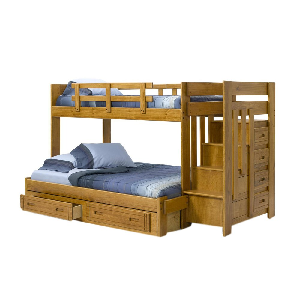 Amazon Chelsea Home Furniture 36154W S Twin Over Full Bunk Bed With Stairway Chest And Underbed Storage 60H Honey Kitchen Dining