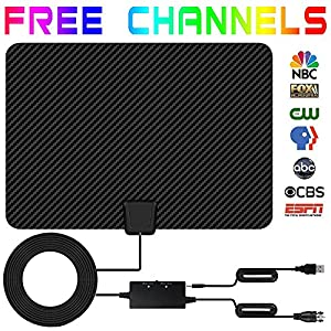 TV Antenna,Indoor Digital HDTV Antenna 50+ Mile Long Range 2018 Newest Version Type Switch Console Amplifier Signal Booster,USB Power Supply and 16.5FT High Performance Coax Cable for 4K 1080P (black)