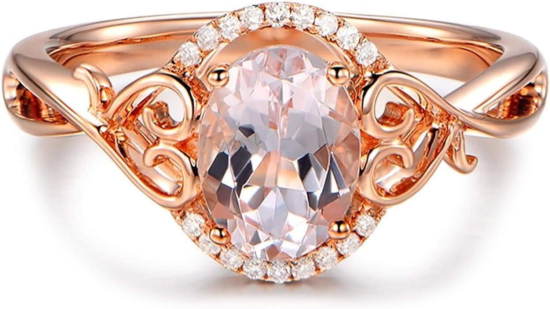 Daesar Anillo de Oro Rosa 18 Kilates Mujer Anillo Oval con Corazón Morganita Rosa 1.3ct Diamante 0.04ct