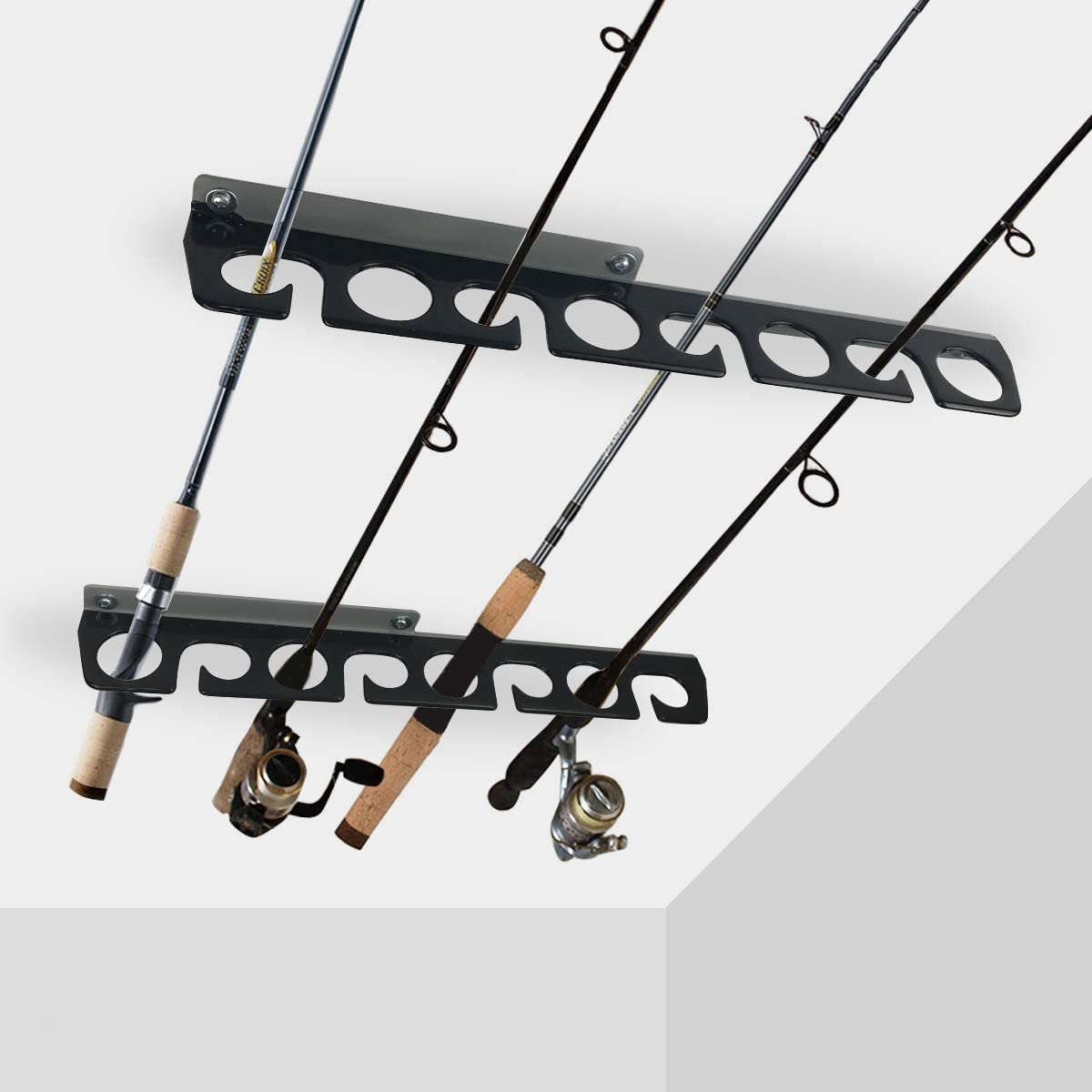 Amazon Com Homydom Fishing Rod Ceiling Wall Storage Rack Fishing Pole Holder For Garage Cabin Basement Heavy Duty Holds Up To 8 Fishing Rods Home Improvement