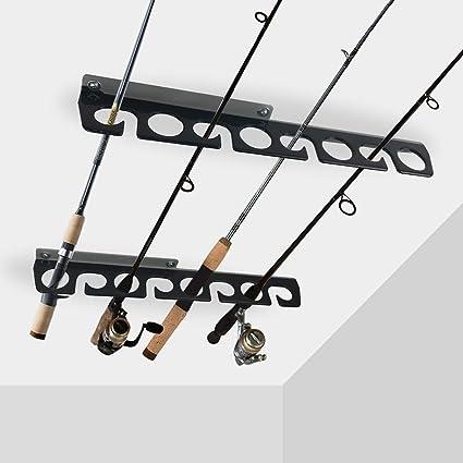 5 Fishing Rod Pole Same Side Holder Garage Ceiling Mount Rack Organizer Storage
