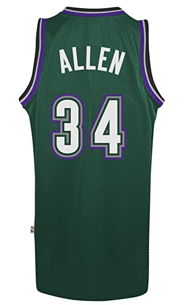 e0e1b900d1e Amazon.com   Adidas Men s Milwaukee Bucks NBA Ray Allen Swingman Jersey  Green Medium   Clothing
