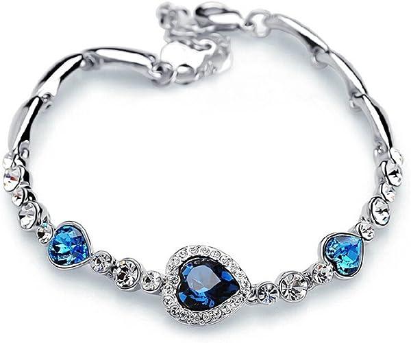 Mode Coeur bleu cristal Swarovski Elements Argent Bracelet avec saphir  élégant pour femme Coffret cadeau