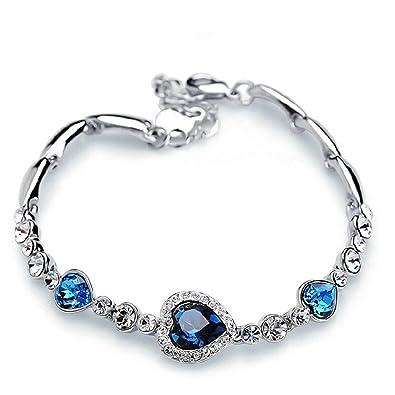 KUNEN Swarovski Elements Blue Crystal Interlocking Double Heart Bracelet with Sterling Silver Cubic Zirconia UOQMA7ln