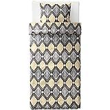 IKEA/イケア HASTFIBLA:掛け布団カバー&枕カバー150×200cm グレー/イエロー (003.502.15)