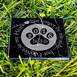 Personalized Memorial Pet Headstone Customized - No Longer By My Side - 12 x 12 Black Marble