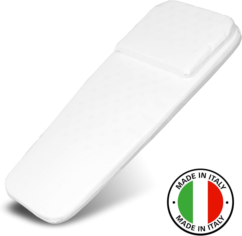 Colchón para capazo (72x32cm)- Made in Italy- Funda antihumedad - Espuma perforada - Hipoalergénico - Sin sustancias nocivas