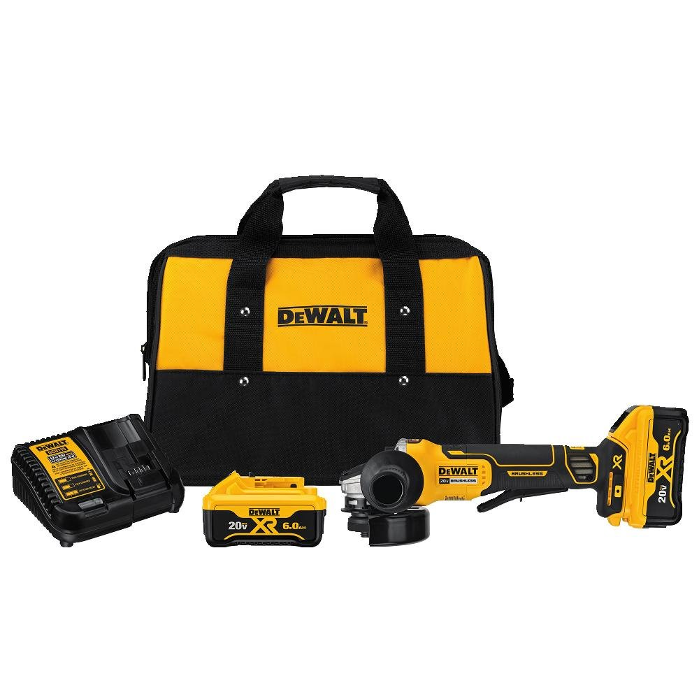 DEWALT DCG413R2 20V MAX XR 4.5'' Brushless Paddle Switch Small Angle Grinder Kit with Kickback Brake