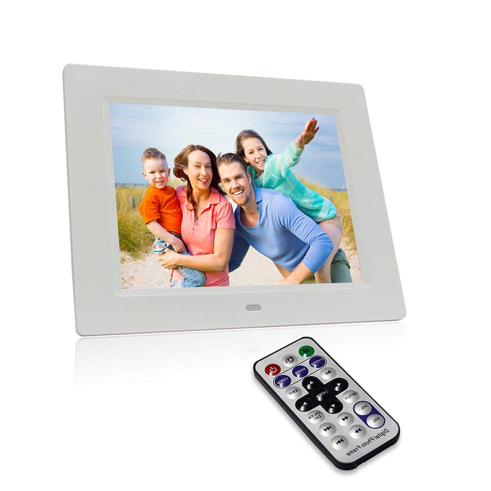 LoMe Digital Photo Frame 8 inch 1080P HD IPS LCD Display Electronic Picture Frame with Motion Sensor, HD Video/ MP3/ Electronic Photo/Advertising Display/Digital Clock/Calendar