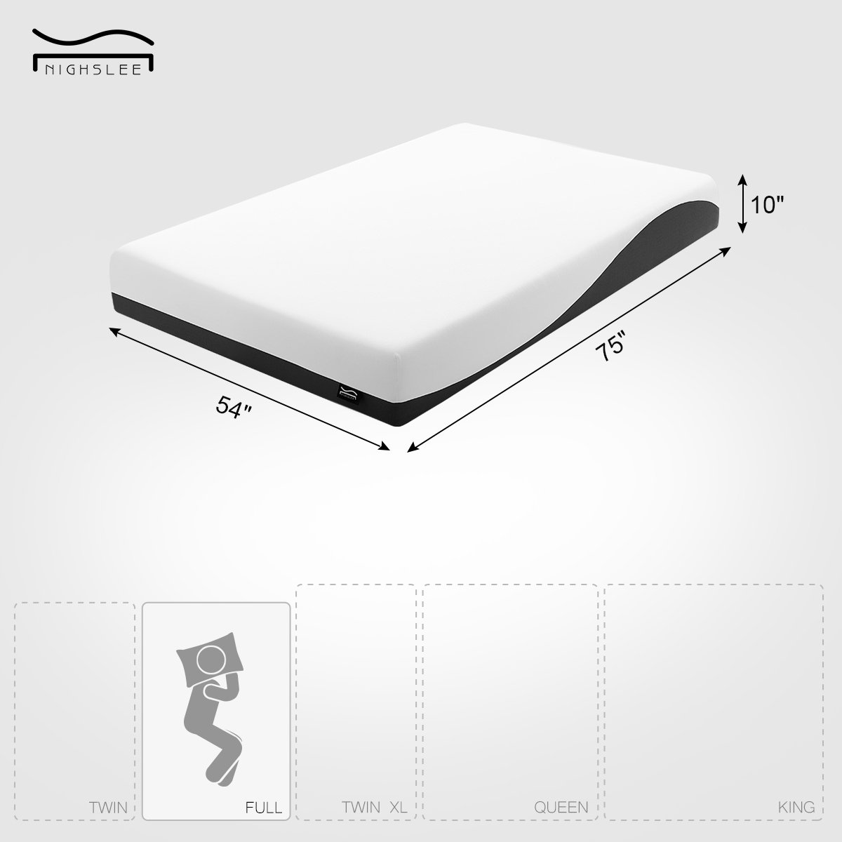NIGHSLEE Memory Foam Mattress Full 10 Inch Patent Cooling Air Gel Comfort Foam – CertiPUR-US Certified – 10-Year Warranty